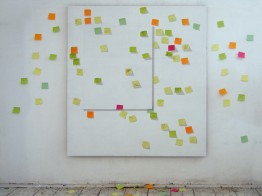 Hopscotch, 2011, 180x160cm + post-it cards arrangement