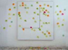 Hopscotch, 2011, 180x160cm + post-it cards arrangement