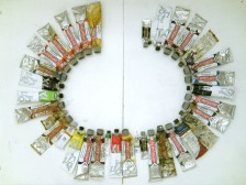 colors of the language: DE Bratwurst, 2011, paint tubes arranged alphabetically