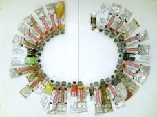 colors of the language: DE Bratwurst, 2011, paint tubes arranged alphabetically