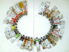 colors of the language: EN Fish n Chips, 2011, paint tubes arranged alphabetically