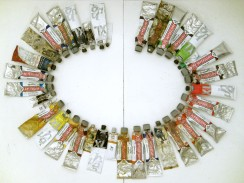 colors of the language: FR Omelette au fromage, 2011, paint tubes arranged alphabetically