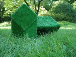 object to be hidden in the grass, 2011, artificial grass, cardboard