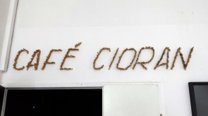 Café Cioran, 2014, opera-like setting, consisting of black bar opening at midnight, black bartender dressed in black, nihilist books cut in half, mirrors, neon lamp, fake yuccas, own currency, custom alcoholic drinks, and sculpture of dark plasticine