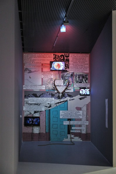 bloodsugarsexmagick, 2016, mural, 3-channel video, chromed skull, behind door a traversable pitch-black corridor filled with scents of blood, pheromones and incense