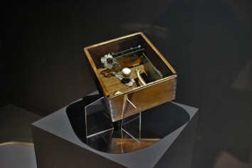 the box (after Cornell), 2016, wood, integrated circuits, watch, china porcelain, bones, lace, plexiglass 1/4