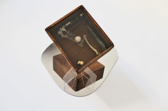 the box (after Cornell), 2016, wood, integrated circuits, watch, china porcelain, bones, lace, plexiglass 3/4