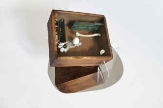the box (after Cornell), 2016, wood, integrated circuits, watch, china porcelain, bones, lace, plexiglass 4/4
